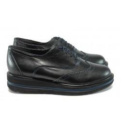 Ортопедични дамски обувки от естествена кожа НБ 6320-663 черен