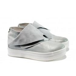 Дамски спортни обувки от естествена кожа ИО 1660 опушен бял