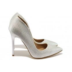 Елегантни дамски обувки на висок ток МИ 1800 сребро