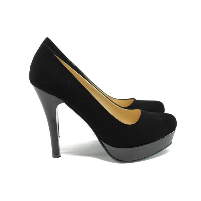 Дамски елегантни обувки МИ 20 черен велур | Дамски обувки на висок ток | MES.BG