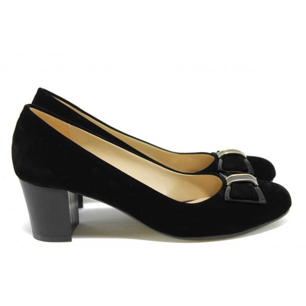 Дамски обувки на среден ток МИ 610 черен велур