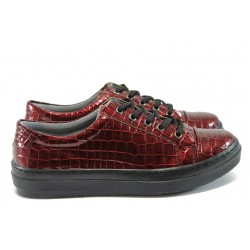Спортни дамски обувки /тип кец/ МИ 6 бордо кроко