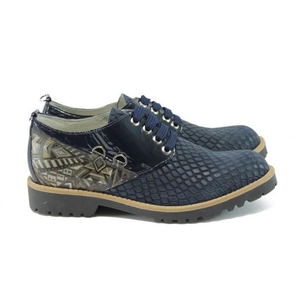 Дамски обувки от естествена кожа ГА 834-25 т.син