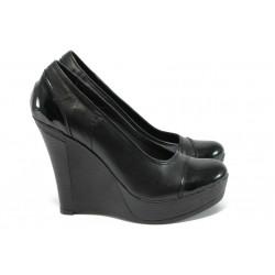 Анатомични обувки на платформа от естествена кожа НЛ 140-8208 черен