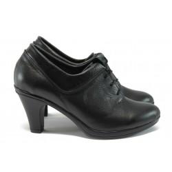 Анатомични български обувки на ток от естествена кожа НЛ 119-NAVI черен