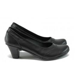 Анатомични обувки на ток от естествена кожа НЛ 108-челик черен