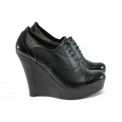 Анатомични обувки на платформа от естествена кожа НЛ 146-8208 черен
