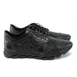 Спортни дамски обувки от естествена кожа МИ 823 черен