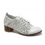 Дамски ортопедични обувки от естествена кожа НБ 10066-983 бял