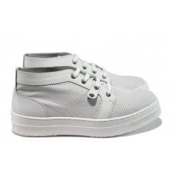 Ортопедични дамски обувки от естествена кожа НБ Stela-975 бял