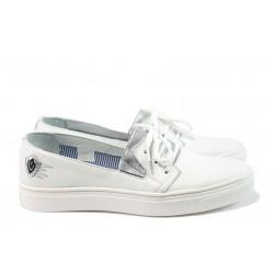 Дамски обувки от естествена кожа МЙ 23098 бял