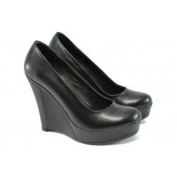 Анатомични дамски обувки от естествена кожа НЛ 165-8208 черен