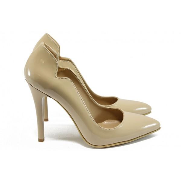 Елегантни дамски обувки на висок ток МИ 15069 бежов