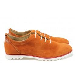 Анатомични дамски обувки от естествен велур ГА 902-18 оранж