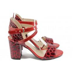"""Дамски сандали на висок ток с """"кроко"""" мотив МИ 936 червен"""