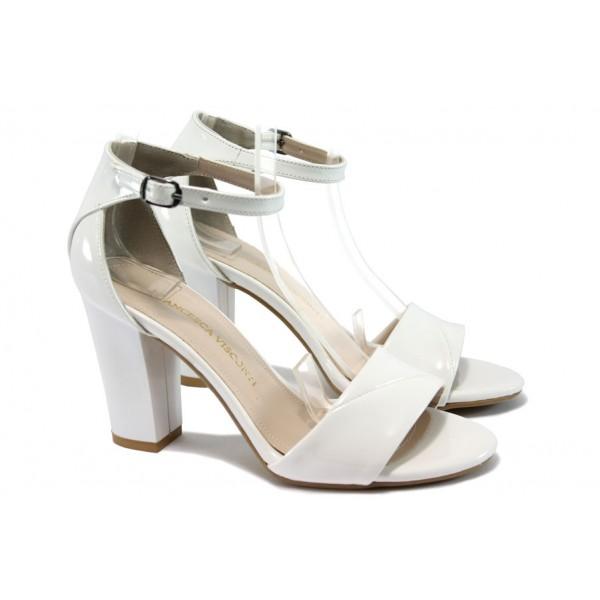 Дамски сандали на висок ток МИ 546 бял