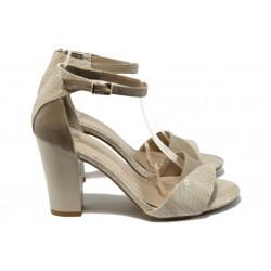 Дамски сандали на висок ток МИ 546 бежов