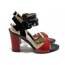 Дамски сандали на висок ток МИ 146 червен лак
