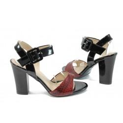 Дамски сандали на висок ток МИ 146 бордо кроко