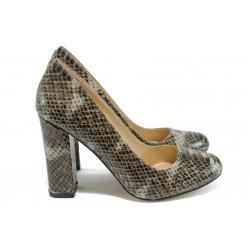 Дамски обувки на висок ток МИ 23 бежов-кафяв