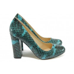 Дамски обувки на висок ток МИ 23 син-зелен