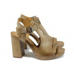 Анатомични дамски сандали от естествена кожа ИО 1670 т.бежов