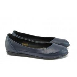 Анатомични дамски обувки от естествена кожа НЛ 169-3406 син