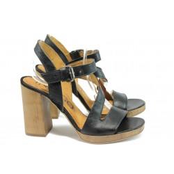 Анатомични дамски сандали от естествена кожа ИО 1594 черен