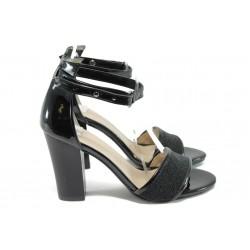 Дамски сандали на висок ток МИ 143 черни точки