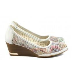 Анатомични дамски обувки от естествена кожа МИ 210 бял