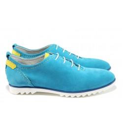 Анатомични дамски обувки от естествен велур ГА 902-15 син