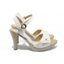 Дамски сандали на висок ток МИ 1019 бял