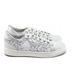 Анатомични дамски обувки от естествена кожа ГА 28Д-1 бял-сив