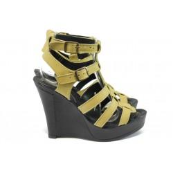 Анатомични дамски сандали от естествена кожа НЛ 75-8208 жълт