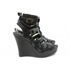 Анатомични дамски сандали от естествена кожа НЛ 75-8208 черен
