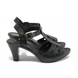 Анатомични дамски сандали от естествена кожа НЛ 206-6843 черен