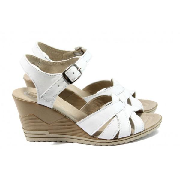 Анатомични дамски сандали от естествена кожа НЛ 202-15462 бял