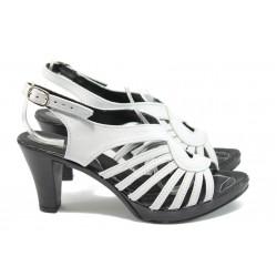 Анатомични дамски сандали от естествена кожа НЛ 30-6843 бял