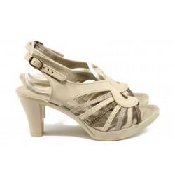 Анатомични дамски сандали от естествена кожа НЛ 30-6843 бежов