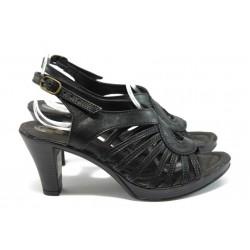 Анатомични дамски сандали от естествена кожа НЛ 30-6843 черен