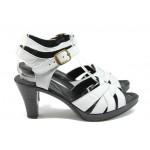 Анатомични дамски сандали от естествена кожа НЛ 202-6843 бял