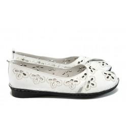 Анатомични дамски обувки от естествена кожа МИ 706 бял