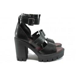 Дамски сандали от естествена кожа НИ 6-815 черен