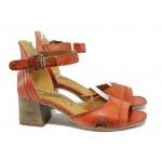 Анатомични дамски сандали от естествена кожа ИО 1671 червен