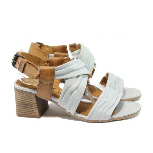 Анатомични дамски сандали от естествена кожа ИО 1471 бял