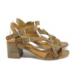 Анатомични дамски сандали от естествена кожа ИО 1673 кафяв
