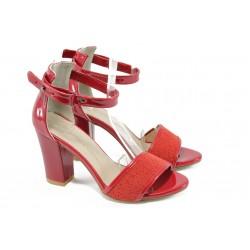 Дамски сандали на висок ток МИ 143 червени точки