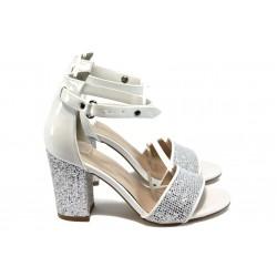 Дамски сандали на висок ток МИ 143 сребро