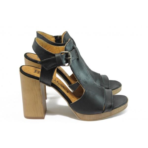 Анатомични дамски сандали от естествена кожа ИО 1670 черен