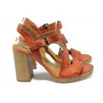 Анатомични дамски сандали от естествена кожа ИО 1594 червен-точки